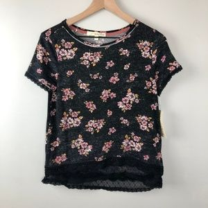 Rewind Floral T-shirt with lace trim women's Small